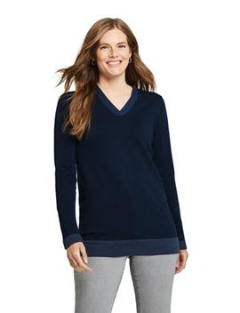 Women's Cotton V Neck Tunic Sweater by Lands' End