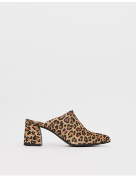 Vero Moda Leopard Print Real Leather Mules by Mules