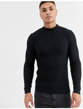 Asos Design Muscle Fit Cable Turtle Neck Jumper In Black by Asos Design