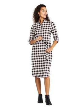 womens-long-sleeve-woven-print-ruffle-collar-shift-dress by lands-end
