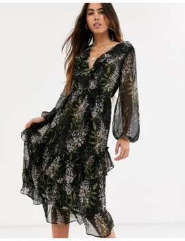 River Island Ruffled Maxi Dress In Dark Floral by River Island