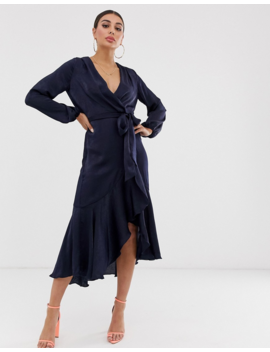 Flounce London Wrap Front Midi Dress In Navy by Flounce London