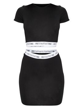 Prettylittlething Black Tape Crop Top by Prettylittlething