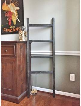 Blanket Ladder | Distressed Black | 5 Ft. Ladder, Farmhouse Decor, Storage Ladder, Quilt Ladder, Nursery Decor, Towel Rack by Etsy