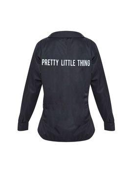 Prettylittlething Black Slogan Oversized Shirt by Prettylittlething