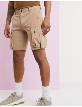 Asos Design Slim Cargo Shorts In Washed Brown by Asos Design