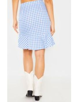 Light Blue Check Mini Skirt by Prettylittlething