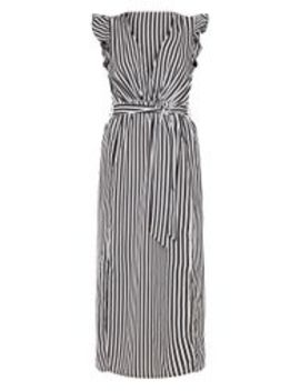 Monochrome Stripe Satin Frill Shoulder Split Midi Dress by Prettylittlething