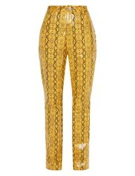 Mustard Faux Leather Snakeskin Straight Leg Pants by Prettylittlething