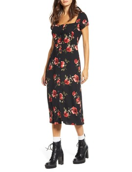X Claudia Sulewski Floral Print Button Front Midi Dress by Bp.
