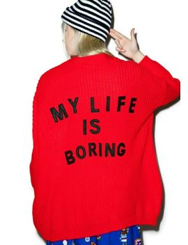 Lazy Oaf 'My Life Is Boring' Red Cardigan (Os) by Ebay Seller