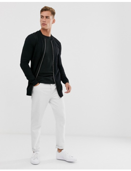 Asos Design Longline Muscle Jersey Bomber Jacket In Black by Asos Design