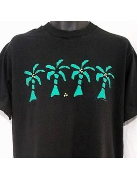 Left Coast Palm Trees T Shirt Vintage 80s Black Green Made In Usa Size Large by Fruit Of The Loom