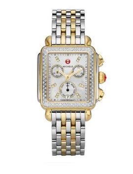 Deco 18 Diamond, Mother Of Pearl & Two Tone Stainless Steel Bracelet Watch by Michele Watches