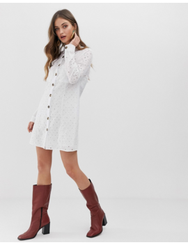 Stradivarius Broderie Shirt Dress In White by Stradivarius