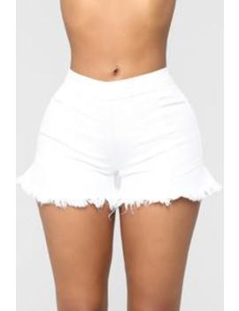 Just One Of Them Days High Rise Shorts   White by Fashion Nova