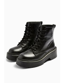 Austin Black Leather Lace Up Boots by Topshop