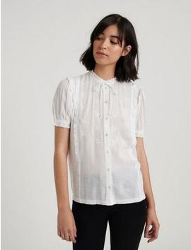 Short Sleeve Ruffle Button Down by Lucky Brand