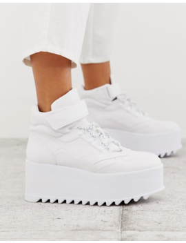 Bershka Eva Flatform Hi Top Sneakers In White by Bershka
