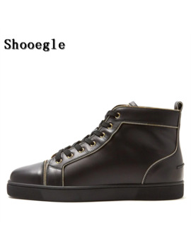 Shooegle Fashion Black Leather Men Shoes Lace Up High Top Flat Sneakers Sapatos Masculinos Plus Size Eu39 Eu47 Free Shipping by Ali Express.Com