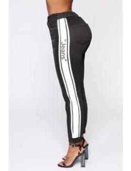 Stripe A Pose High Rise Jeans   Black by Fashion Nova