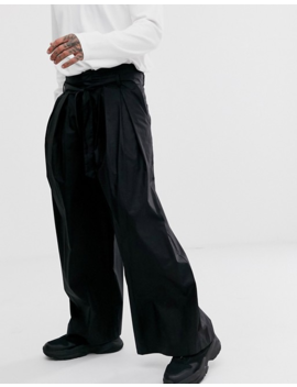 Asos White Volume Trousers In Black Paper Touch Cotton by Asos White