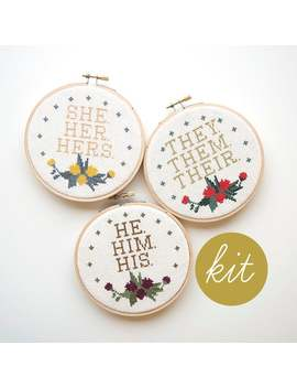 Pronouns (They, She, & He), Modern Cross Stitch Kit by Etsy