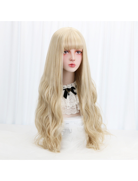"32""Blonde Cosplay Lolita Wig With Bangs Long Wavy Synthetic Hair Cosplay Costume Wig For Women Lolita Wig High Temperature Fiber by Ali Express.Com"
