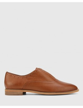 Edyth Dark Cognac Leather Slip On Brogue by Wittner
