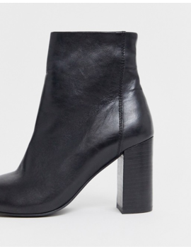 Asos Design Rescue Leather Block Heel Boots In Black by Asos Design