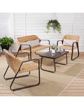 Mainstays Calebasse Banana Leaf 4 Piece Patio Conversation Set by Mainstays