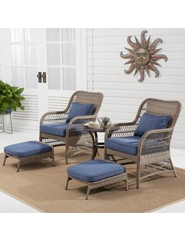 Better Homes & Gardens Auburn 5 Piece Wicker Patio Chat Set With Blue Cushions by Better Homes & Gardens