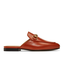 Orange Princetown Slippers by Gucci