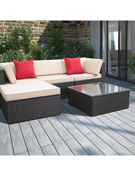 Huang 5 Piece Rattan Sectional Seating Group With Cushions by Brayden Studio
