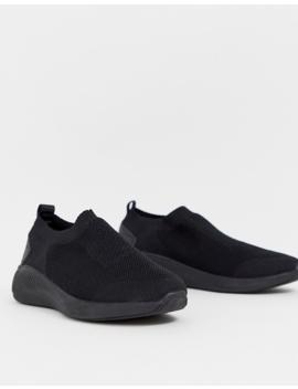 Asos Design Slip On Sock Sneakers In Black Knit by Asos Design