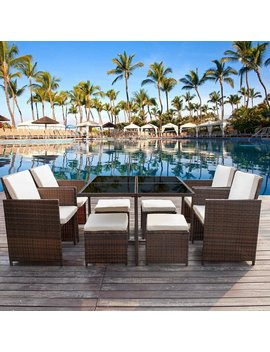 Angelos 9 Piece Rattan Complete Patio Set With Cushions by Rosecliff Heights