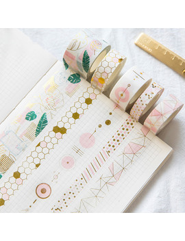 Pink Foil Geometric Washi Tape Diy Decorative Scrapbooking Sticker Planner Masking Adhesive Tape Label by Ali Express.Com
