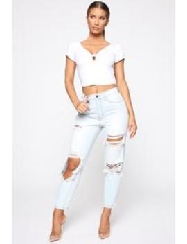 Shoot The Gaps Distressed Mom Jeans   Light Blue Wash by Fashion Nova