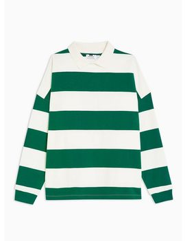 Green Stripe Rugby Sweatshirt by Topman