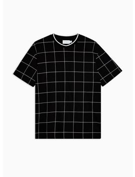 Black Windowpane Check T Shirt by Topman