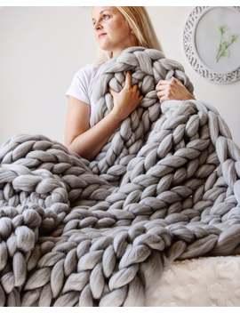 Giant Blanket, 100% Merino Wool Blanket, Chunky Knit Blanket, Knitted Blanket, Arm Knit Blanket, Chunky Wool Blanket, Home Knit Decor, Gift by Etsy