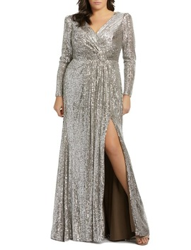 Sequin Long Sleeve Gown by Mac Duggal