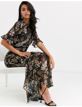 Hope & Ivy Flutter Sleeve Maxi Dress With Tiered Skirt Hem In Navy Floral Print by Hope And Ivy