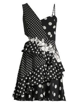 Asymmetric One Shoulder Polka Dot Dress by Bcbgmaxazria