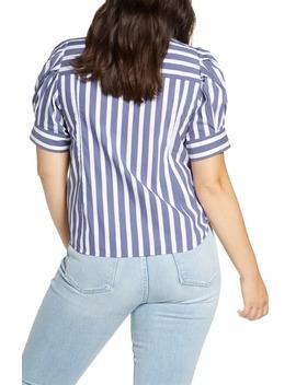 Angela Stripe Stretch Cotton Blend Blouse by Tanya Taylor