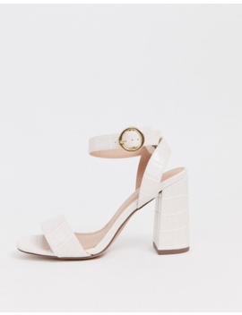 New Look Buckle Detail Croc Heel In Off White by New Look