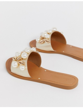 Asos Design Wide Fit Fountain Premium Leather Embellished Flat Sandals by Asos Design