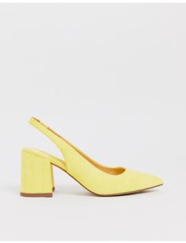 Asos Design Samson Slingback Mid Heels In Pale Yellow by Asos Design