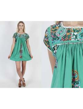Oaxacan Dress Green Mexican Wedding Dress Cotton Ethnic Dress Vintage 70s Floral Fiesta Embroidered Festival Party Mini Dress by Etsy