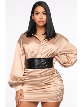 In My Head Satin Mini Dress   Gold by Fashion Nova